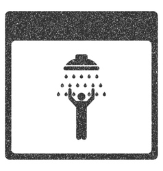 Man shower calendar page grainy texture icon vector