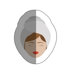 Woman with towel of spa center design vector