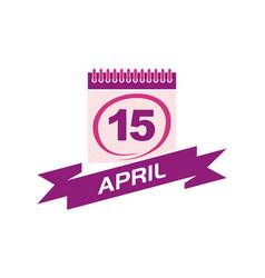 15 april calendar with ribbon vector
