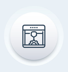 3d printer additive manufacturing line icon vector