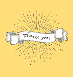 Thank you thank you text on vintage hand drawn vector