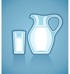 Jug and full glass with milk vector