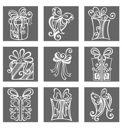 Set of ornamental holiday gift vector