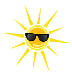Sun with black glasses vector