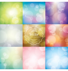 Set of abstract blurred lights bokeh background vector