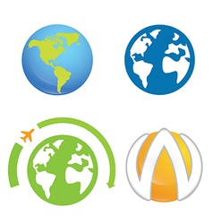 world earth planet logo element vector image