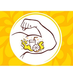 Strong man hand with icon of fresh fruit vector