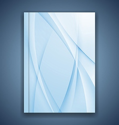 Blue line folder brochure cover design vector