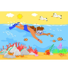 Cartoon girl underwater vector