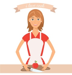 pretty woman on kitchen vector image