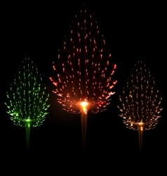Festive firework three different color shape pine vector