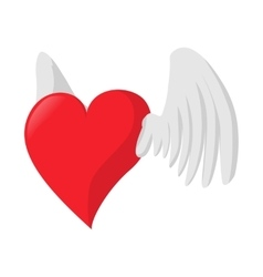 Heart with wings love cartoon icon vector