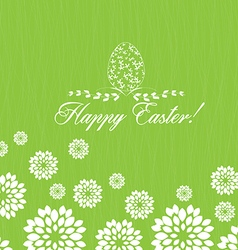 Easter greeting card with decorative egg on green vector