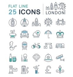 Set flat line icons london and england vector