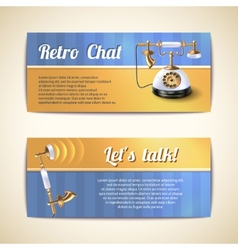 Antique telephones horizontal banners vector