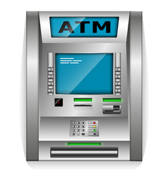 Atm - automated teller machine metal construction vector