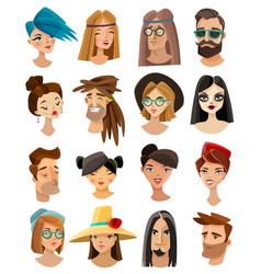avatars set in cartoon style vector image