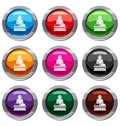 Buddha statue set 9 collection vector
