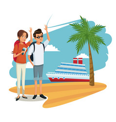 Cute couple tourists cruise ship beach image vector