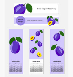 Design of banners with fresh plum vector