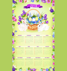 Easter paschal calendar 2018 template desgn vector