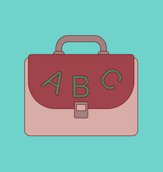 flat icon thin lines school bag vector image vector image