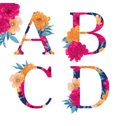 Flower alphabet vector