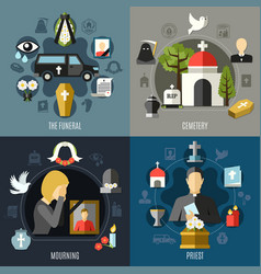 funeral concept icons set vector image