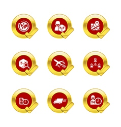 Gold circle and check mark with logistic and vector image