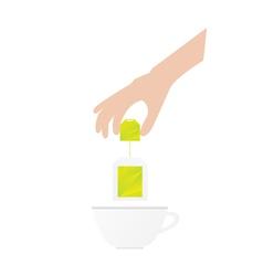 Human hand is holding tea bag vector