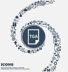 Image file type format tga icon in the center vector