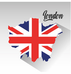 london map with england flag inside vector image vector image