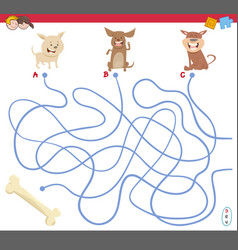 Maze game with puppy characters vector