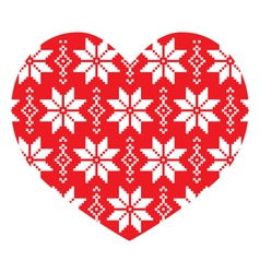 Nordic winter red heart pattern vector image vector image