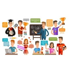 School College or student teacher set of icons vector image