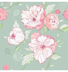 Seamless pastel colored pattern with peony flowers vector image