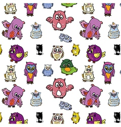 Seamless pattern set of owl vector image vector image