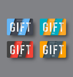 Set of gift cards in a modern style of material vector