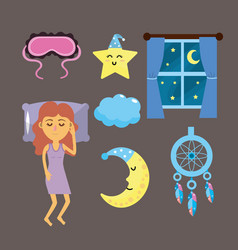 Set woman with good night thing vector