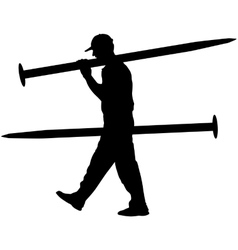 Silhouette Porter carrying the large nail in his vector image