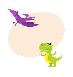 Two cute and funny baby dinosaur characters - vector