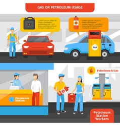 Gas station workers banners set vector