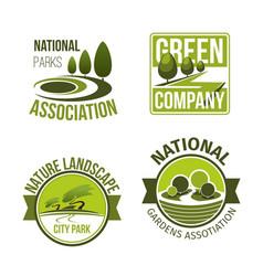 Green nature landscape design icons set vector