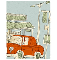 Creative gas station vector