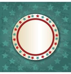 Retro Round Frame on Blue Background vector image
