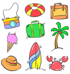 Doodle of object summer cartoon style vector
