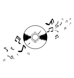 Cd with music note vector