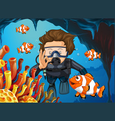 Scuba diver diving underwater with clownfish vector