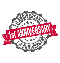 1st anniversary stamp sign seal vector