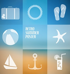 summer poster made from icons vector image